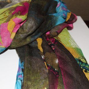Large Colorful Charmie Charlie Scarf NWT